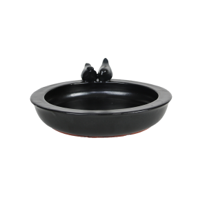 Bird Bath Ceramic Round Grey