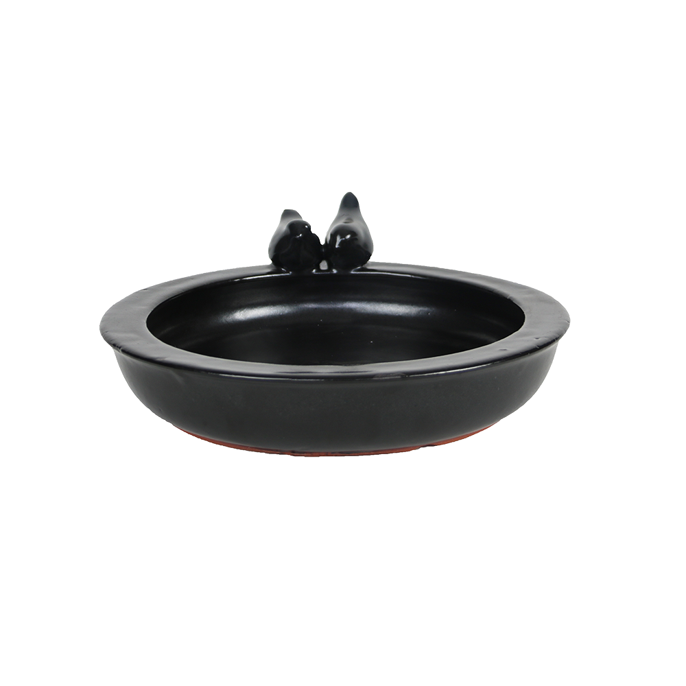 Bird Bath Ceramic Round Grey