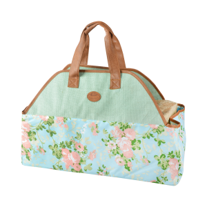 Rose print/Jute wood log Carrier