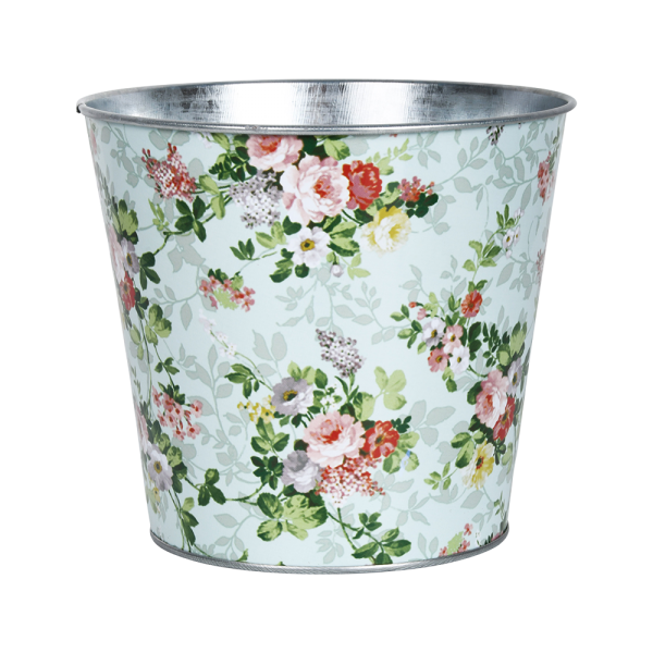 Rose Print Round Zinc Flower Pot
